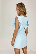 Whisper Square Neck Ruffle Dress