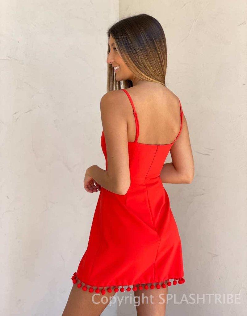 Whisper Sweetheart Pom Pom Dress
