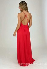 Plunging V Neck Maxi Gown