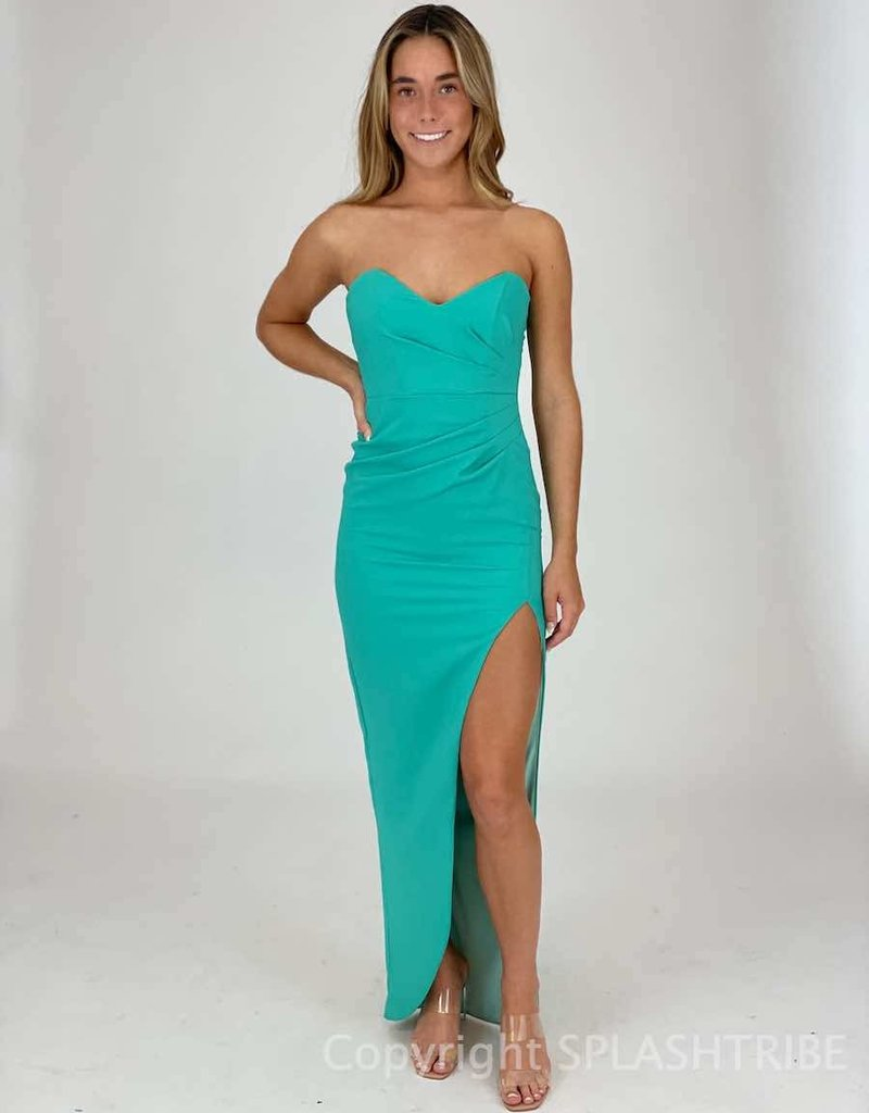 Strapless Draped Maxi Gown