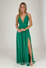 Pleated Plunge Front Maxi Gown