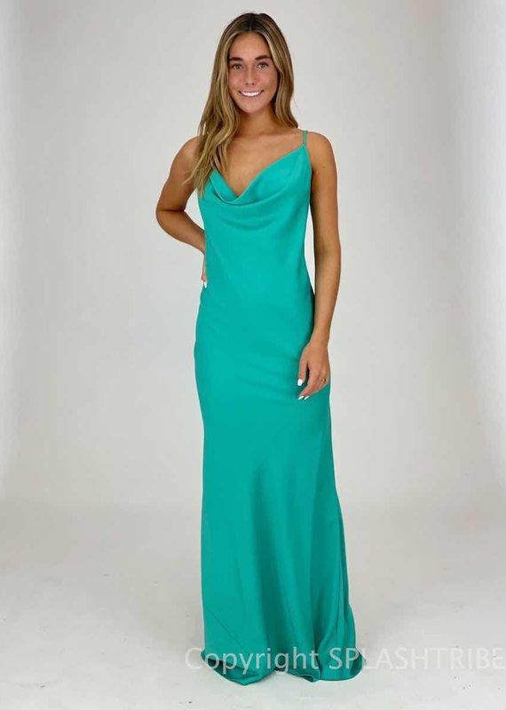 Cowl Neck V Back Maxi Gown