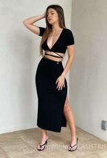 Rib Keyhole Wrap Midi Skirt