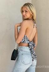 Zebra Halter Tie Back Crop Top