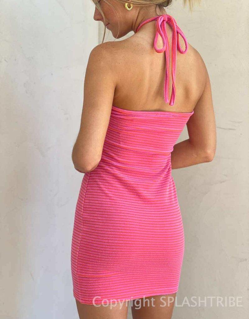 Halter Neck Stripe Knit Dress
