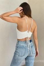 Halter Scallop Knit Crop Top