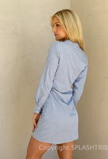 Pinstripe Deep V Neck Shirt Dress