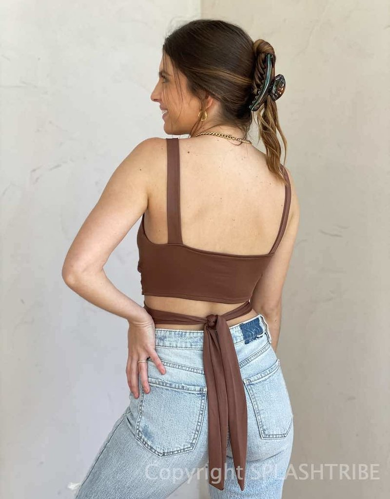 Twisted Cut Out Wrap Crop Top