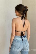 Cowl Neck Tie Back Bandana Crop Top