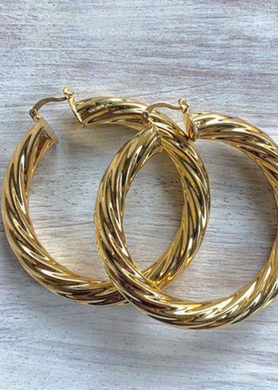 Gold Twist Hoops Small