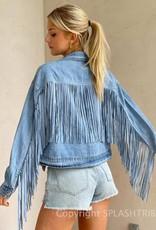 Fringe Detail Washed Denim Jacket