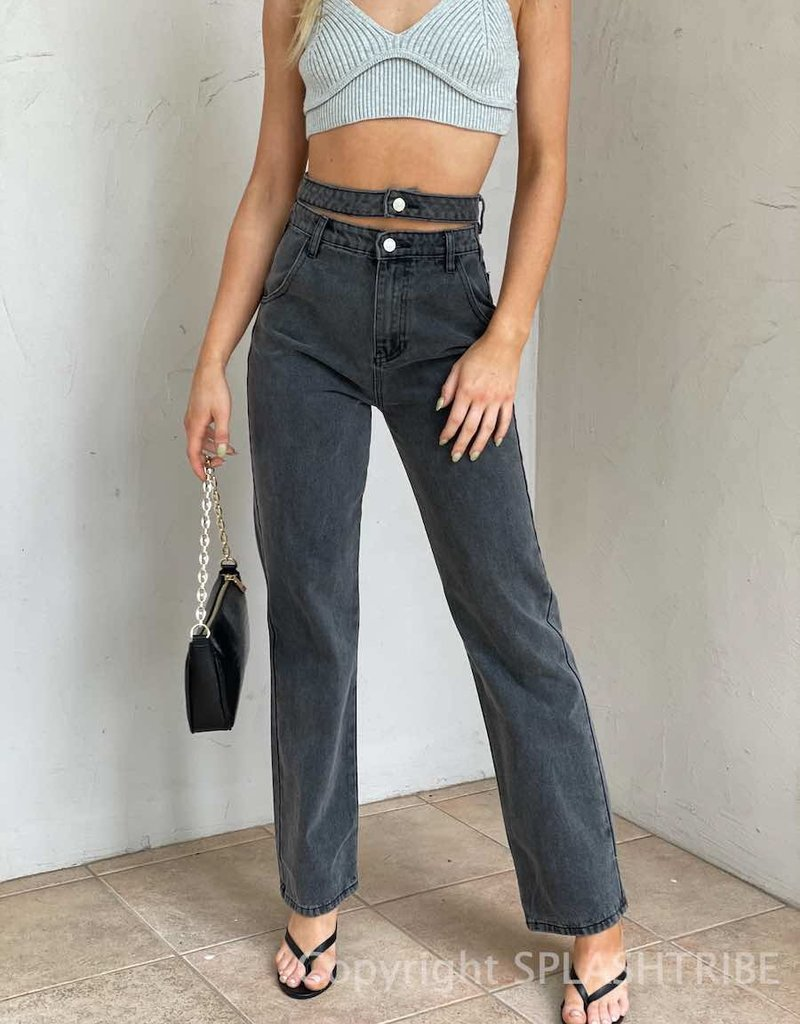 Straight Fit Double Waist Jeans