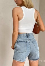 Asymmetrical Waist Denim Shorts