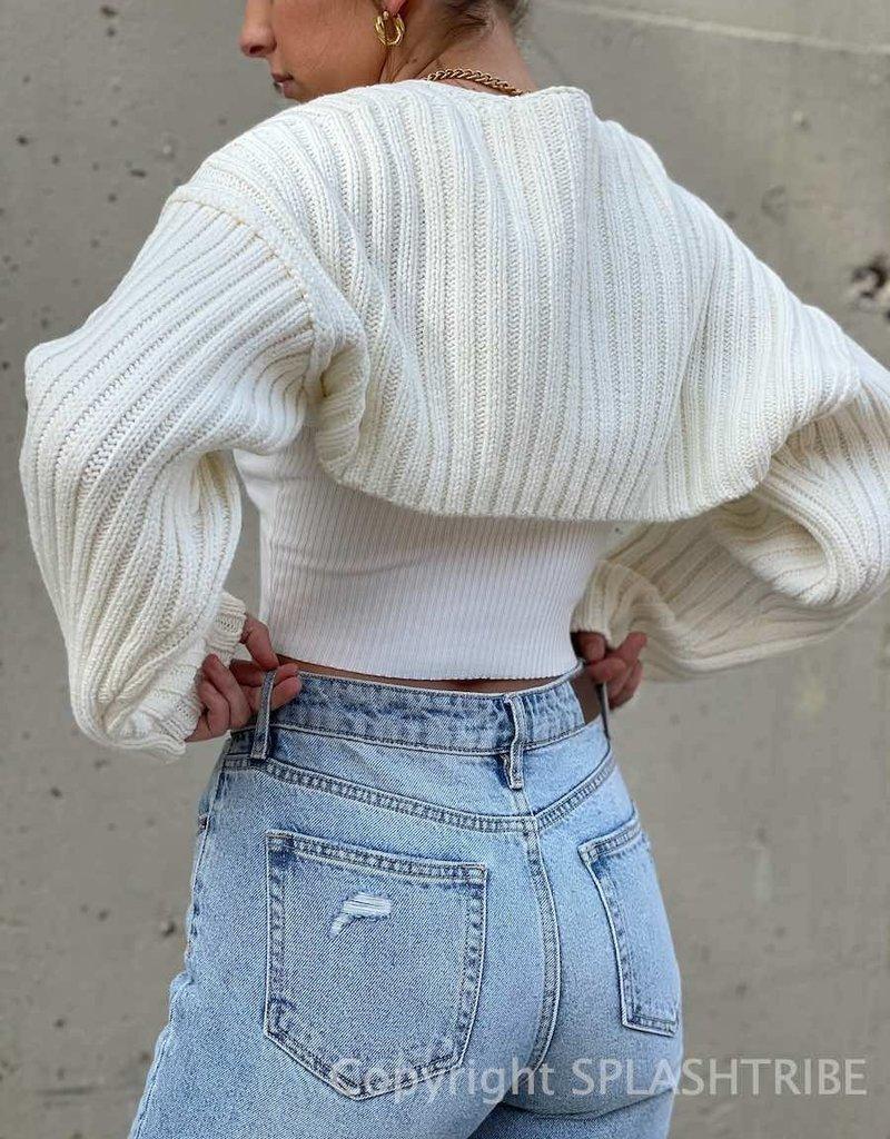 Cozy Knit Shrug Off White