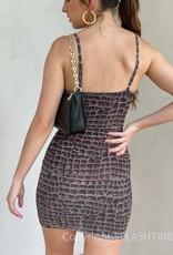 Croc Print Mesh Mini Dress