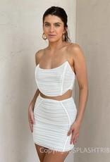 Ruched Mesh Corset Skirt Set