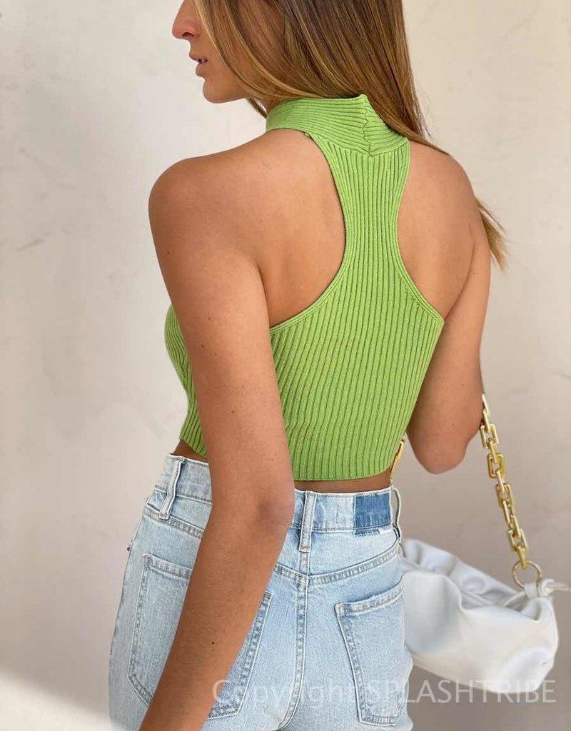 Knit Keyhole Halter Crop Top - P-156681