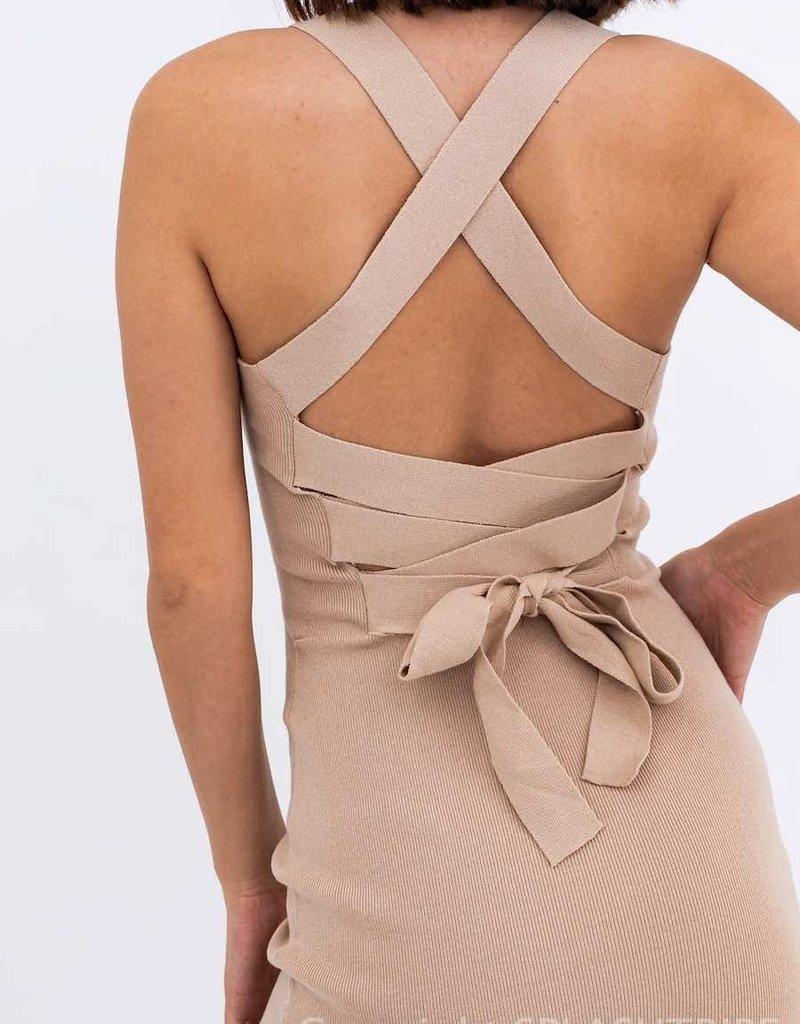 Ribbed Knit Cross Back Mini Dress