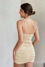 Shimmer Ruched Shoulder Tie Mini Dress