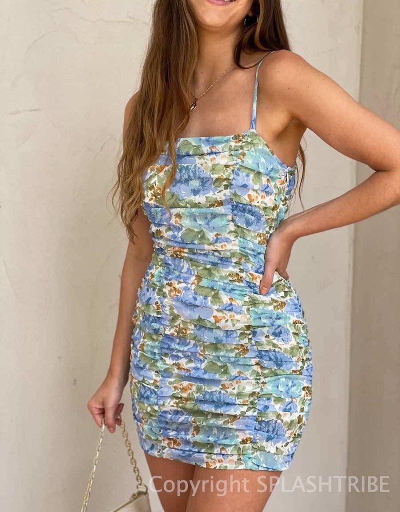 Monet Ruched Mini Dress