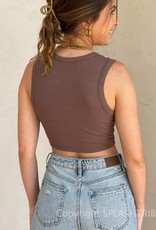 Cinched Front Cropped Muscle Tank Top