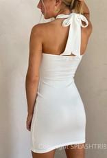 Rib Cross Front Halter Mini Dress