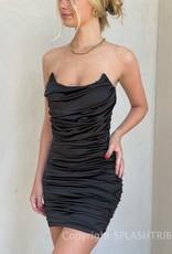 Satin Strapless Ruched Mini Dress