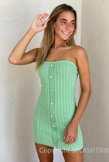 Front Button Detail Strapless Sweater Mini Dress