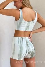Tie Dye Lettuce Hem Shorts