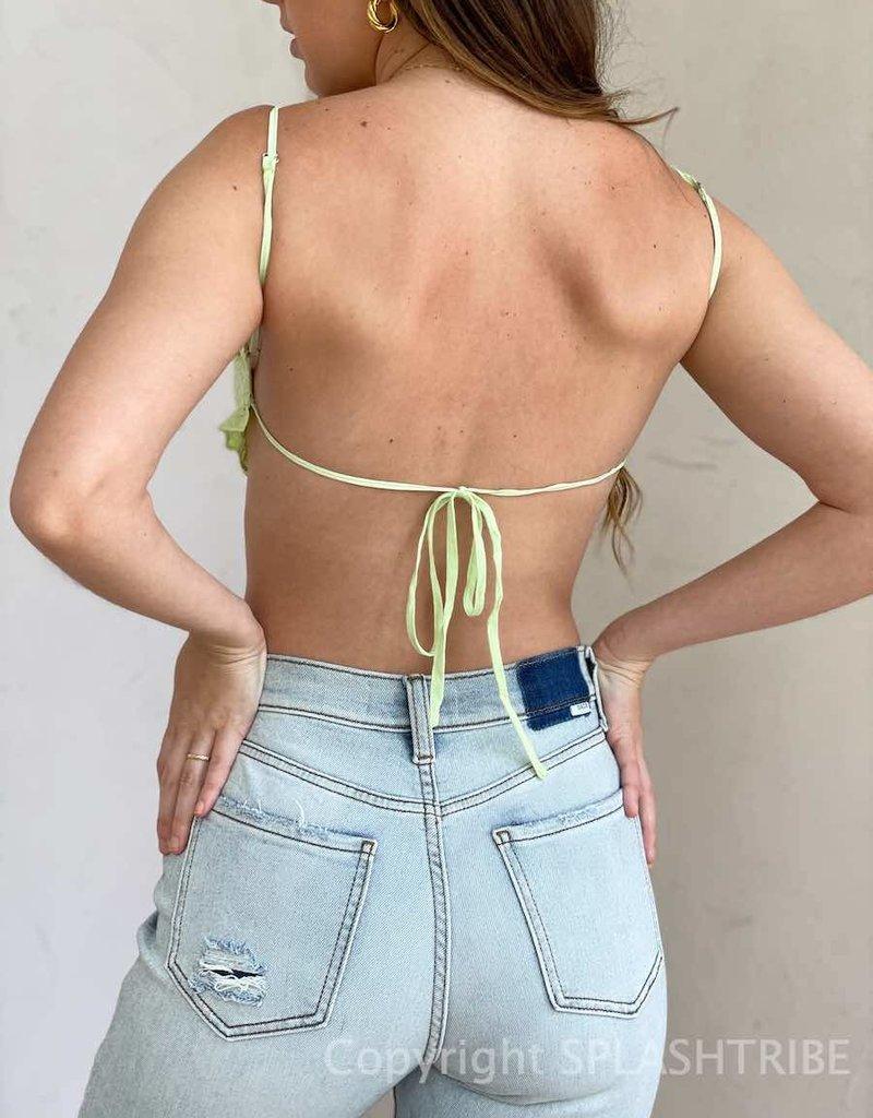 Eyelet Ruched Tie Back Bra Top
