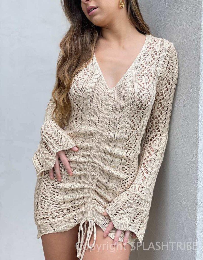 Ibiza Crochet Long Sleeve Mini Dress