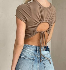 Rib Short Sleeve Keyhole Tie Back Top