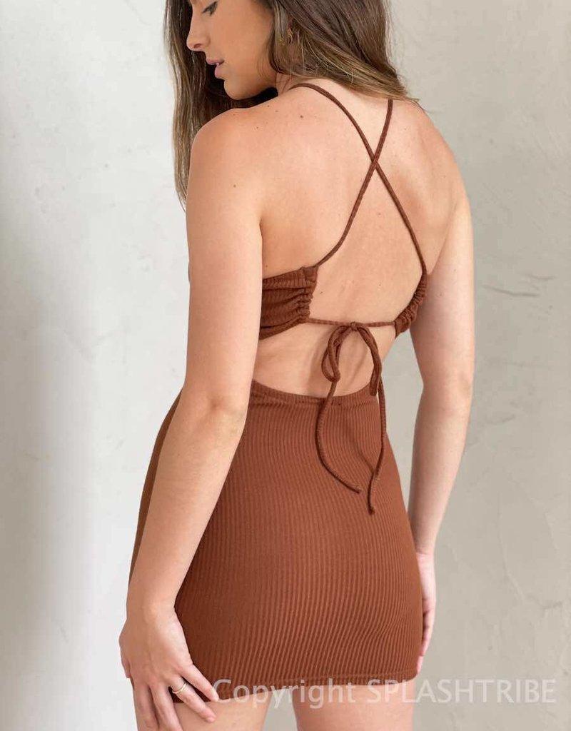 Leni Ribbed Halter Mini Dress