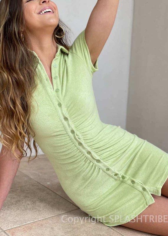 Addison Terry Button Front Mini Dress