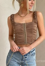 Hook and Eye Ruched Crop Tank Top