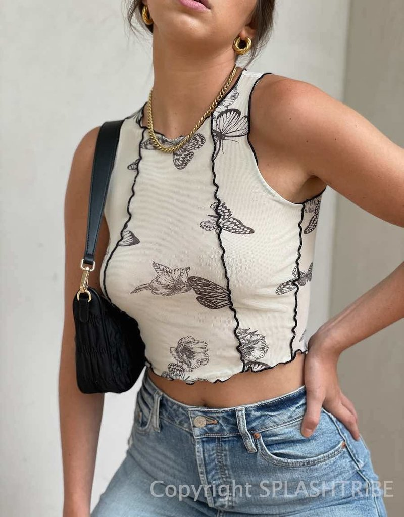 Exposed Seam Butterfly Mesh Crop Tank Top