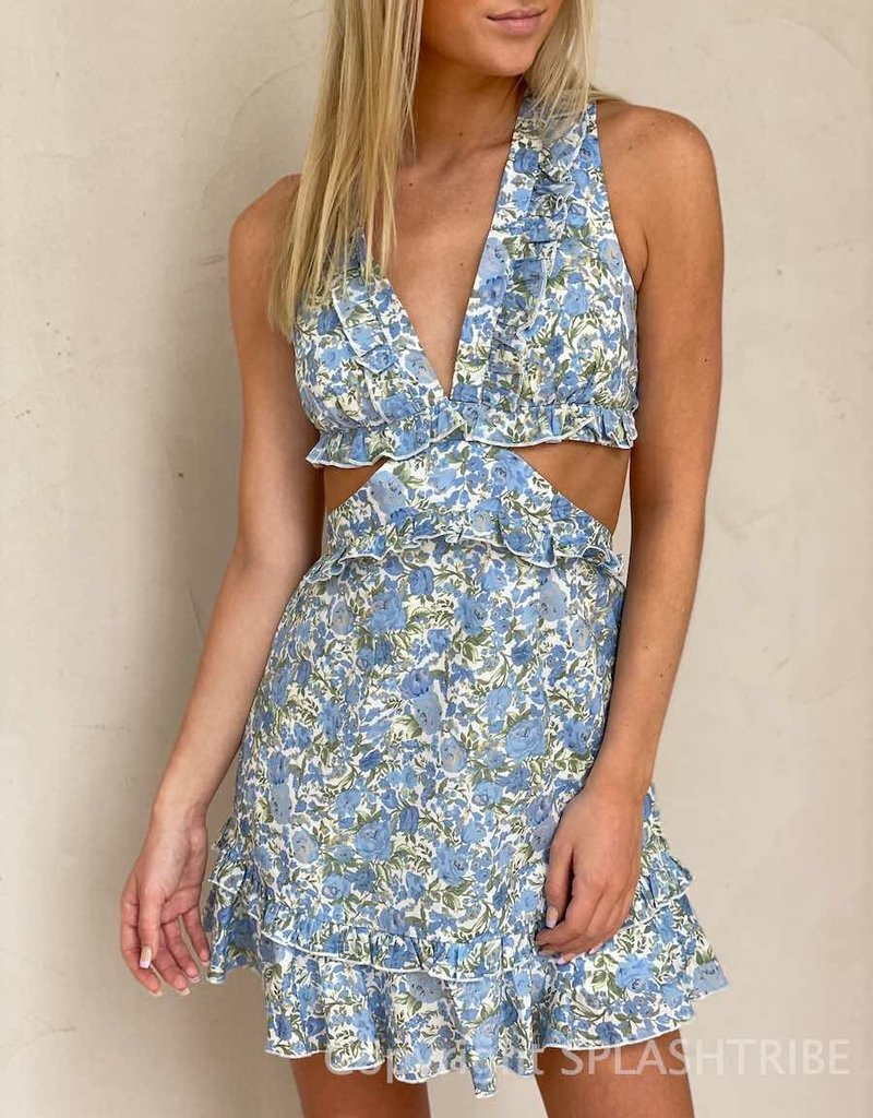 Back Lace Up Cut Out Ruffle Floral Dress