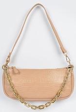 Rectangle Chain Layered Shoulder Bag Beige Croc