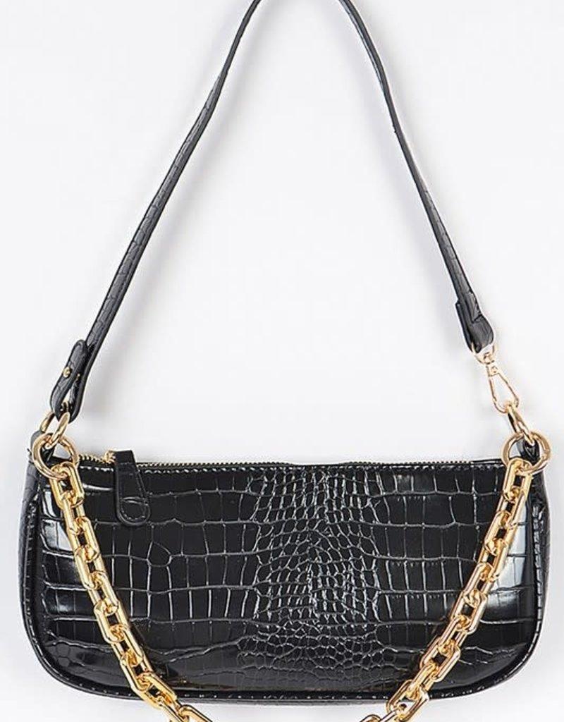 Rectangle Chain Layered Shoulder Bag Black Croc