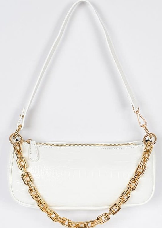 Rectangle Chain Layered Shoulder Bag White Croc
