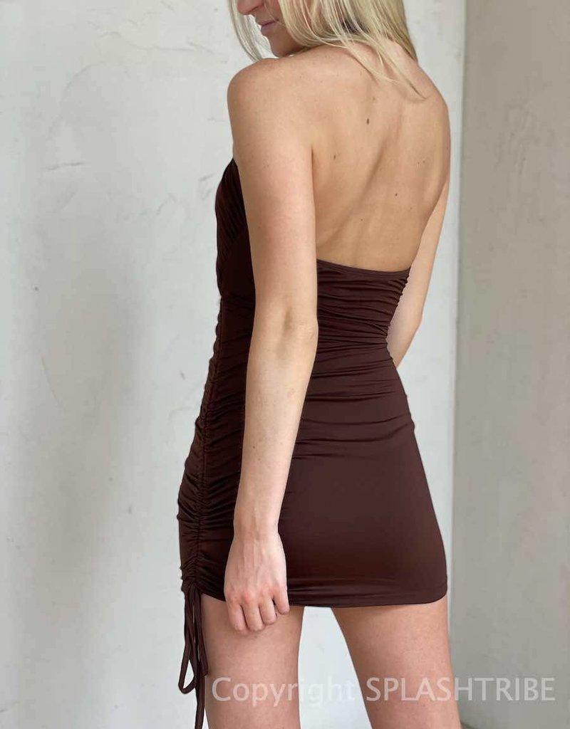 The Selena Twist Halter Mini Dress