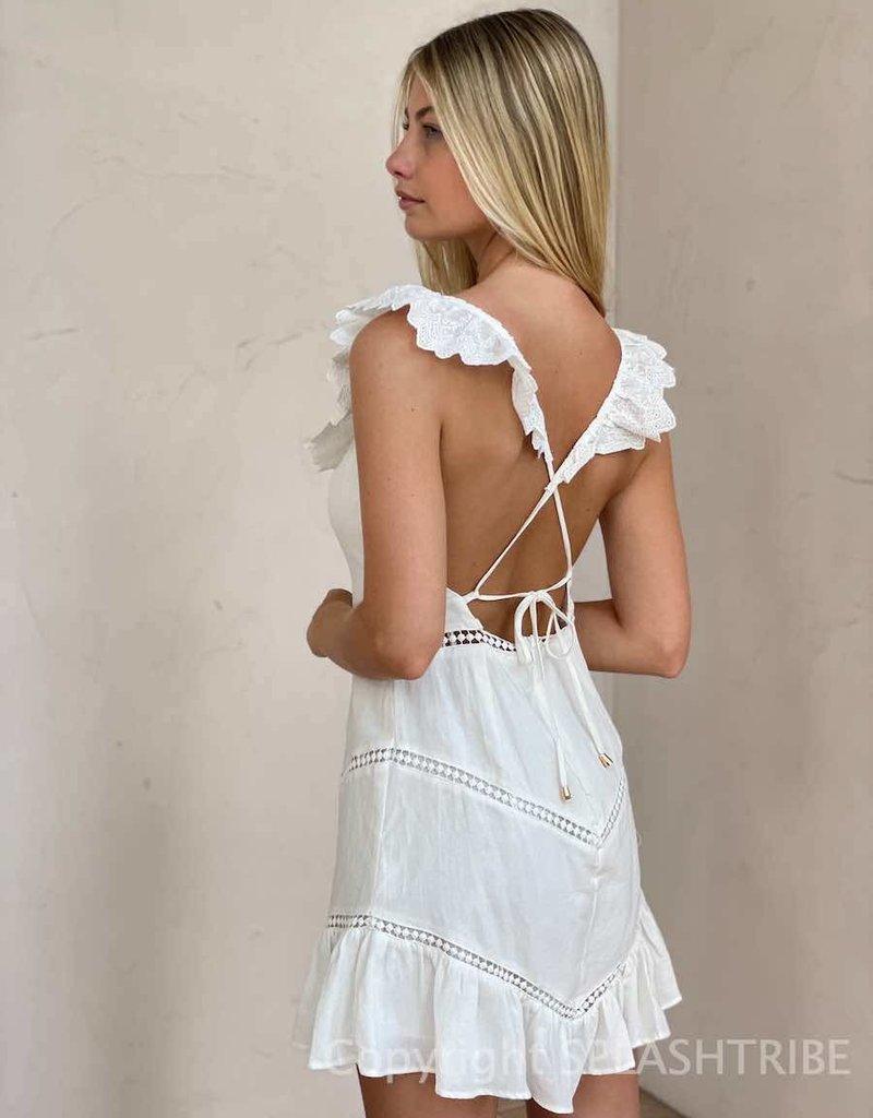 Frill Trim Crochet Insert Mini Dress