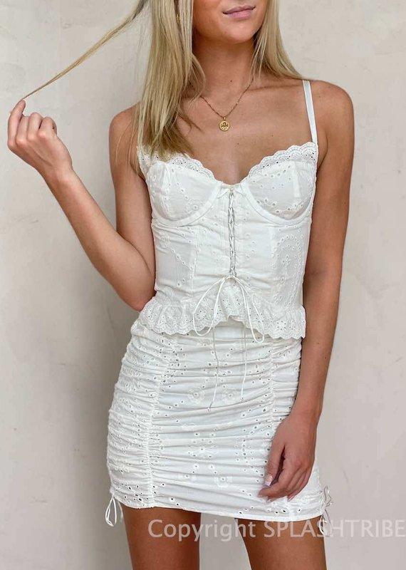 Eyelet Corset Mini Dress