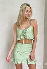Matcha Ruffle Mini Skirt