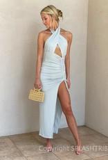 Greek Goddess Ruched Side Maxi Dress