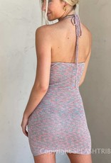 Space Dye Halter Sweater Mini Dress