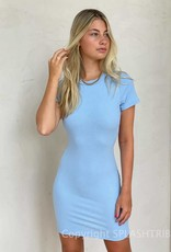 Short Sleeve Ribbed Open Back Dress