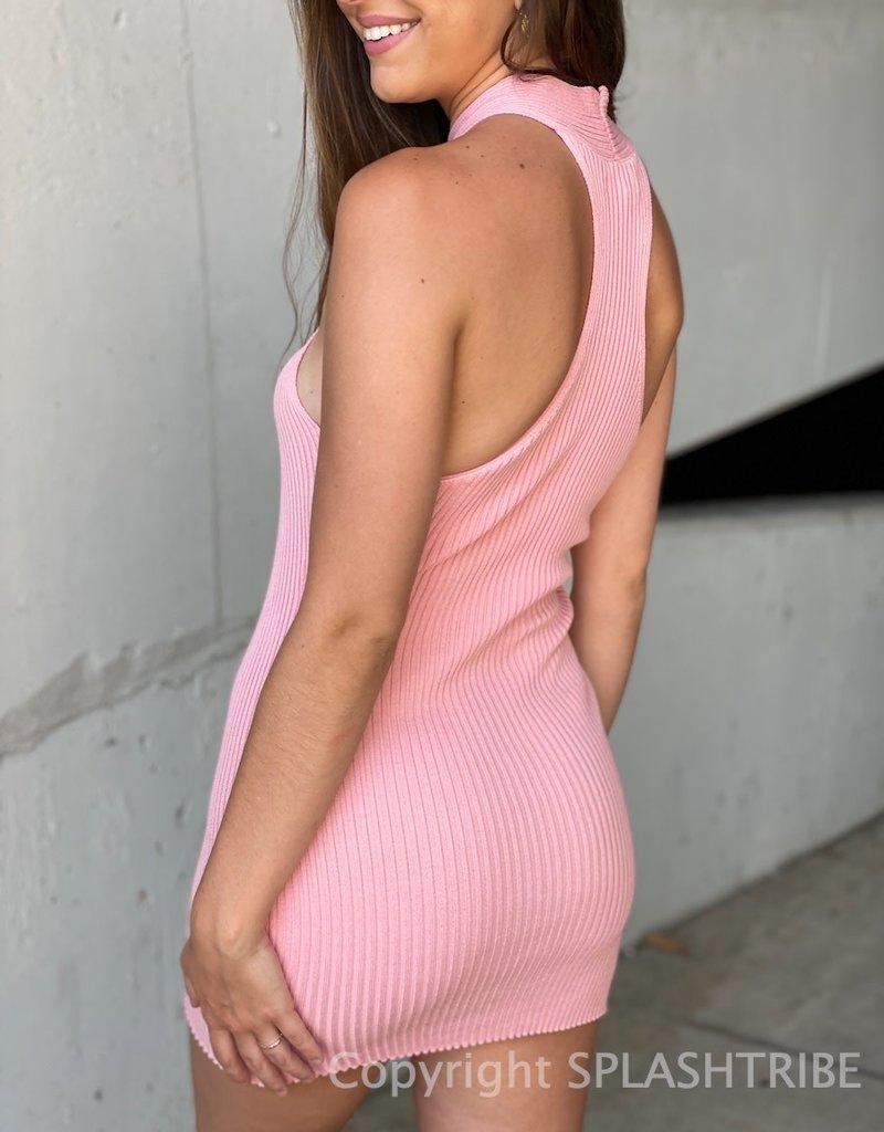 Chrissy Criss Cross Halter Mini Dress