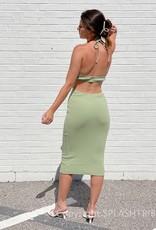 Sofia Rib Cut Out Midi Dress