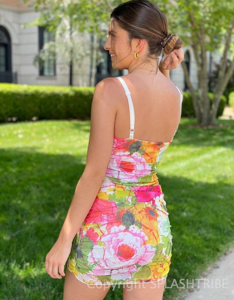 Mesh Watercolor Floral Mini Dress